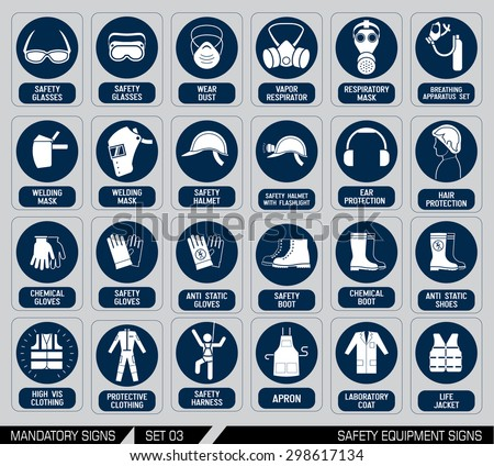 Set of safety equipment signs. Mandatory construction and industry signs. Collection of safety and health protection equipment. Protection on work. Vector illustration.