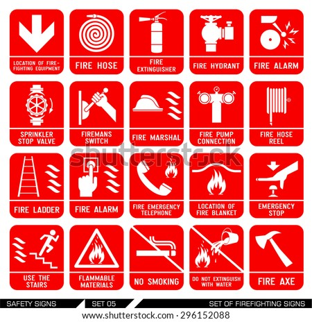 Set of safety signs. Firefighting icons. Set of firefighting signs. Collection of warning signs. Vector illustration. Signs of danger. Signs of alerts. Fire icons. - stock vector