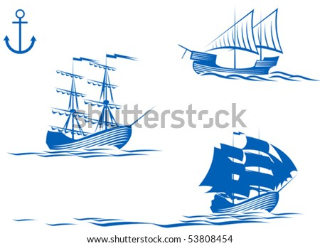 Set of sail ships isolated on white for design. Jpeg version also available - stock vector