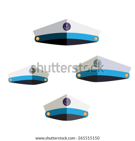 Set of sailor cap flat icon - stock vector