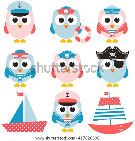 set of sailor owls and boats - stock vector