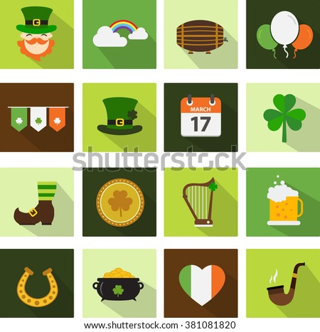 Set of saint patrick's day flat icons - stock vector
