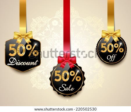 Set of 50% sale and discount golden labels with red bows and ribbons Style Sale Tags Design, 50 off - vector eps10 - stock vector