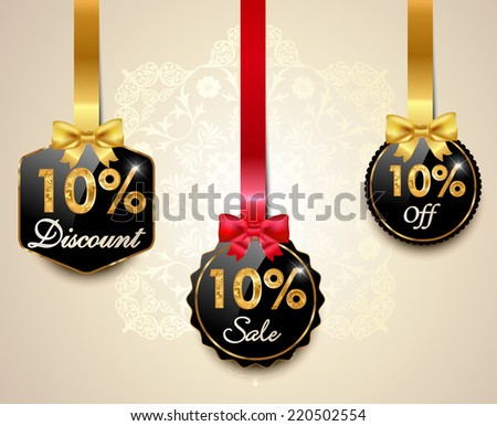 Set of 10% sale and discount golden labels with red bows and ribbons Style Sale Tags Design, 10 off - vector eps10 - stock vector