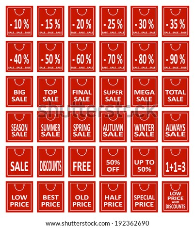 Set of Sale and Discount price tags. Vector. - stock vector