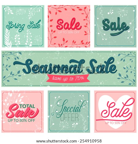 Set of sale and special offer typography banners. Retro and vintage style posters with grunge texture, pink and turquoise colors. Vector designs for spring and summer advertisement. - stock vector