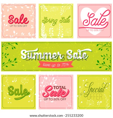 Set of sale and special offer typography banners. Retro and vintage style posters with grunge texture, pink and green colors. Vector designs for spring and summer advertisement. - stock vector