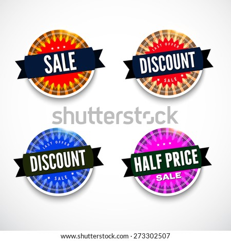 Set of sale badges with different sample texts. Vector illustration for your sale design