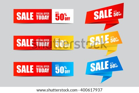 Set of Sale banners and stickers