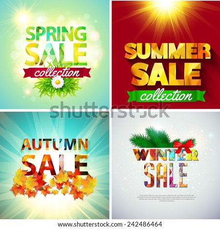 Set of sale banners for all seasons. Vector illustration - stock vector