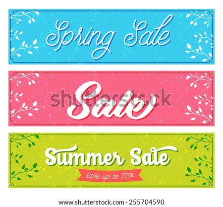 Set of sale banners. Retro and vintage style with grunge texture, pink, blue and green colors. Vector designs for spring and summer advertisement. - stock vector
