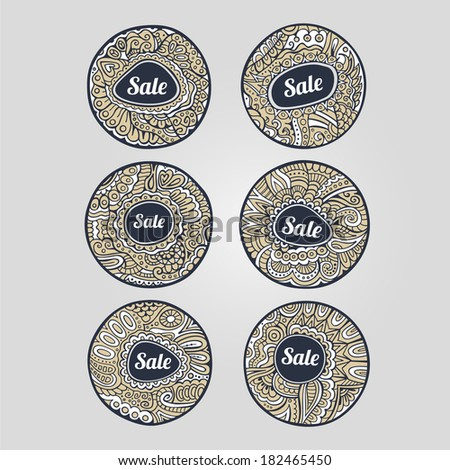 Set of Sale decorative hand drawn vector labels and stickers - stock vector