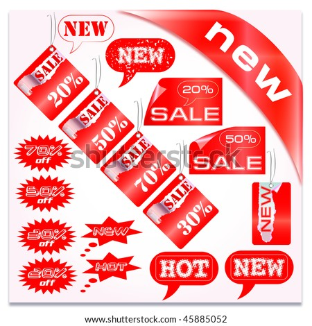 set of sale, new, hot tag in vector