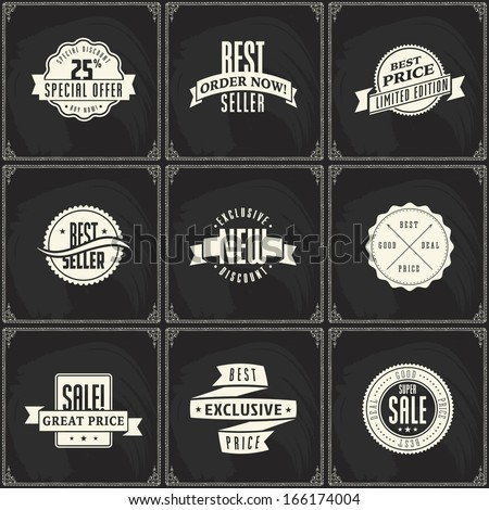 Set of sale price discount ribbon labels on chalk blackboard background pattern - stock vector