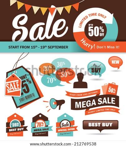 Set of sale promotion design elements - stock vector
