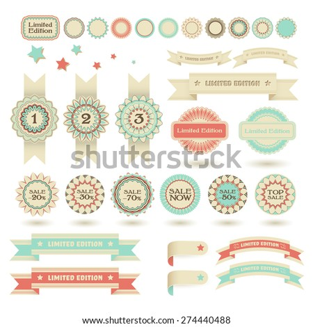 Set of sale stamps, winning place flags and limited edition ribbons, vector