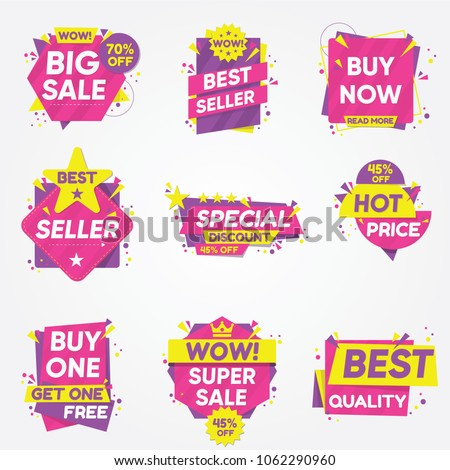 Set of sale sticker best quality sale bannerslabels and stickers and more