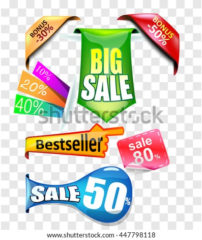 Set of sale stickers and signs. Big sale, sale twenty %, fourty %, fifty%, bestseller