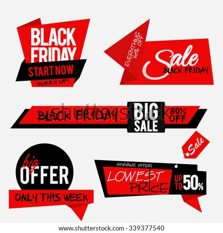 Set of sale stickers with place for your text. Black friday sale and special discounts. Sale tags. Vector illustration.