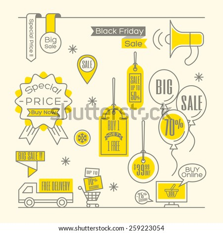 Set of Sale tags Label shopping design elements - stock vector