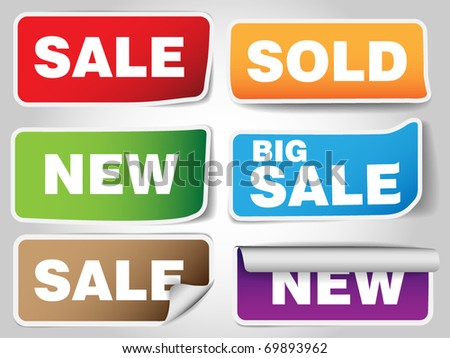 Set of sale tags - six types  - blue , green, orange , pink, blue, red - stock vector