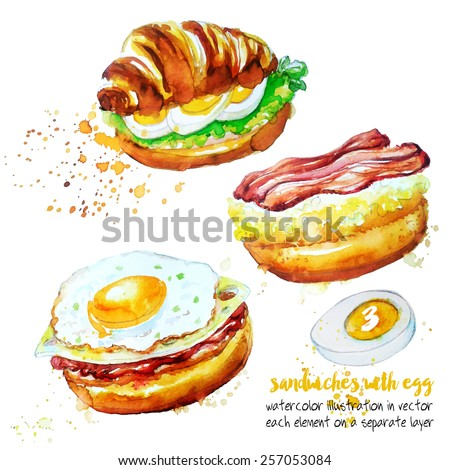 Set of sandwiches,each item on a separate layer - stock vector