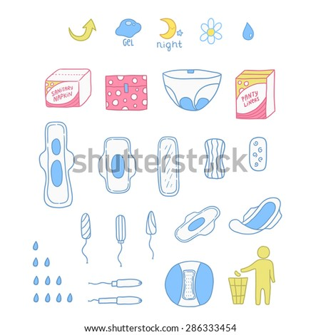 set of sanitary napkin. panty liner illustration.
