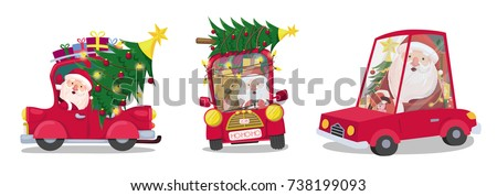 set of santa claus on a red car carries gifts and a Christmas tree. Merry christmas and a happy new year. vector