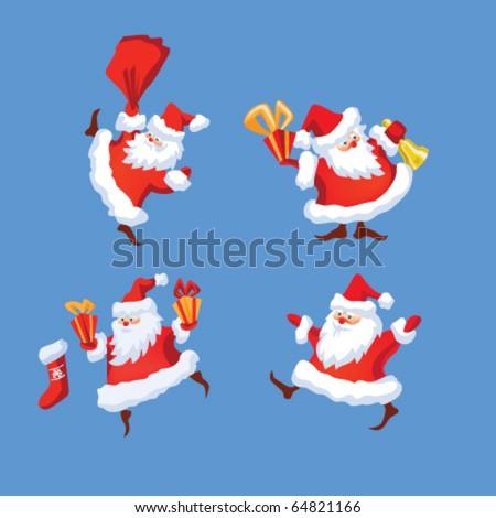 Set of Santa Claus.  Santa say ho-ho. comes down the chimney, dresses up , Keeps a present. eps8 file - stock vector
