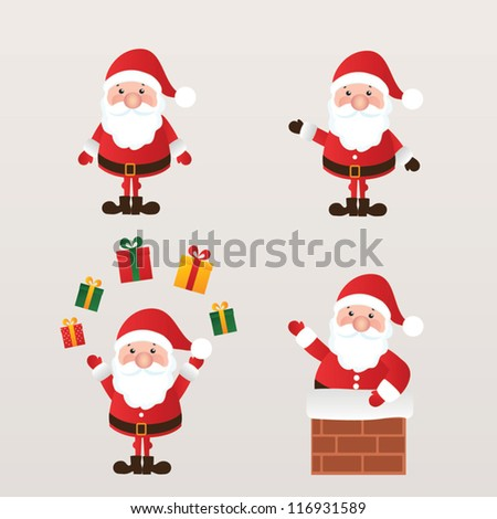 Set santa claus vector illustration stock vector 116931589 shutterstock - Papa noel vector ...