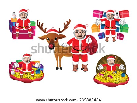 Set of Santa Clauses ready for christmas - stock vector