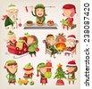 Set of Santa's elves preparing for christmas. - stock vector