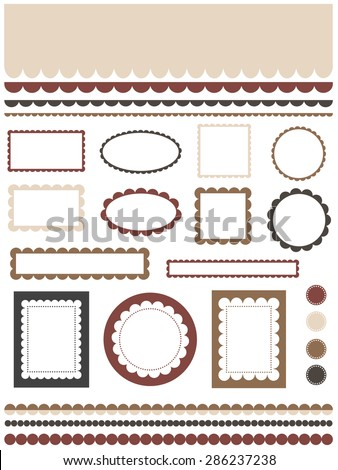 Set of scalloped design elements - stock vector