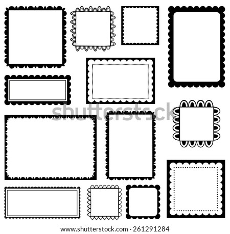 Set of scalloped frames - stock vector