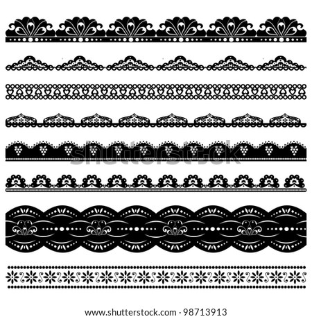 Set of scalloped vector borders