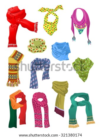 Set of scarves for girls isolated on white background