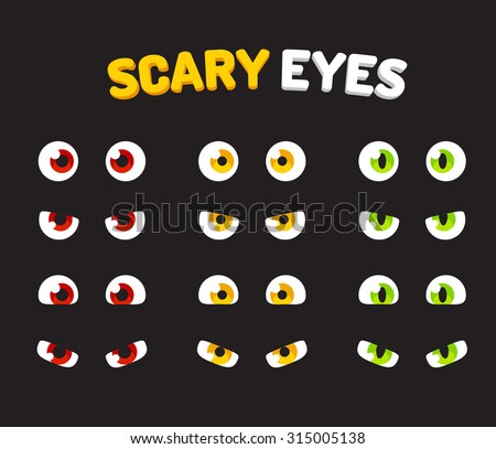 Set of scary eyes for Halloween to use as stickers or design elements.  - stock vector