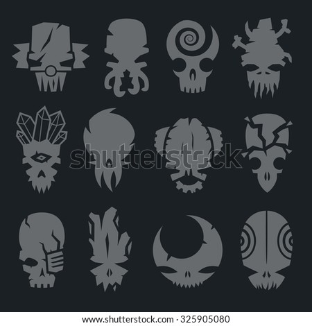 set of scary monsters skull characters for use in design - stock vector