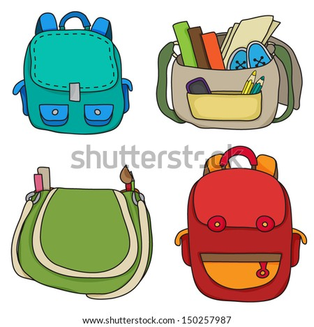 Set of school bags.