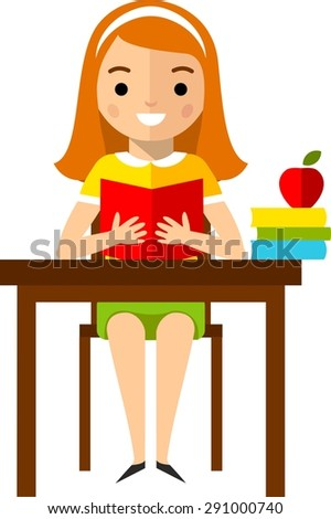 Set of school children in flat style Concept of learning with  school children, table and computer   - stock vector