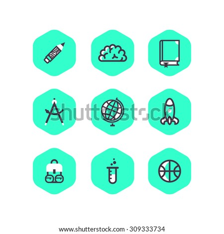 Set of school icons in hexagon shape - stock vector