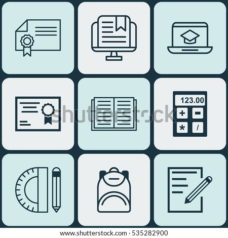 Set Of 9 School Icons. Includes Haversack, Education Tools, Certificate And Other Symbols. Beautiful Design Elements.