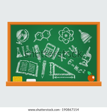 Set of school icons on a blackboard - stock vector