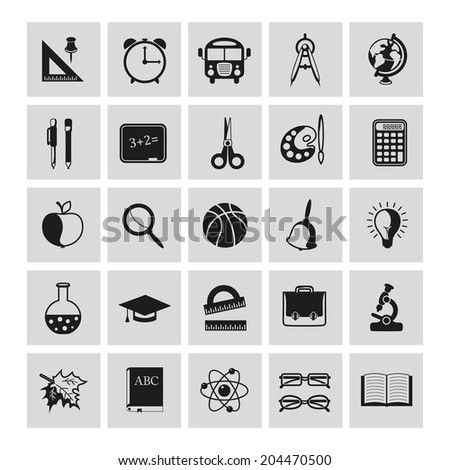 set of school icons on gray background - stock vector