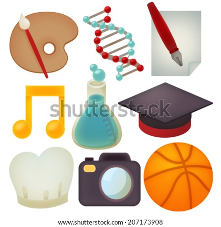 Set of school icons - Vector file EPS10 - stock vector