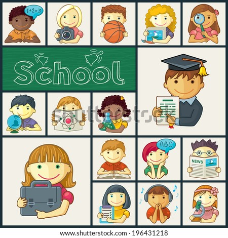 Set Of School Icons With Kids - stock vector