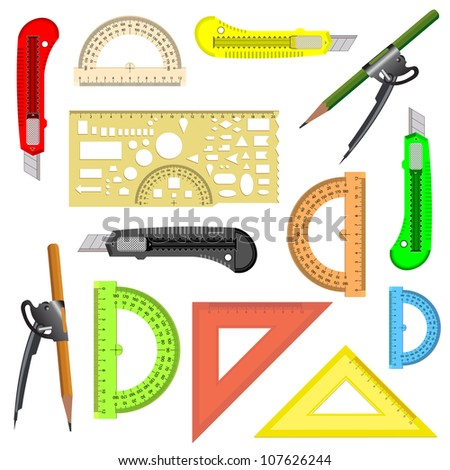 set of school instruments. Protractor, compass, protractor and a knife. Vector illustration. - stock vector