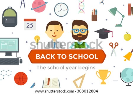 Set of school objects and couple characters. Schoolboy and teacher. Education background. Flat design. Icon set - stock vector