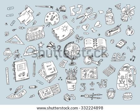 Set of school supplies. Back to school. Hand Drawn Doodles illustration - stock vector