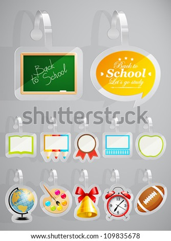Set of School theme stickers. Vector illustration. - stock vector